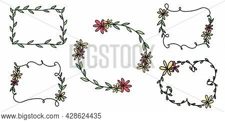 Hand drawn doodle frame. Round and square frame with flowers. Transparent hand drawn circle in sketch style. Doodle circle in handwritten style. Vector EPS 10