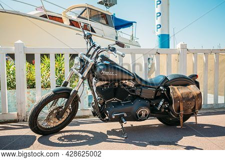 Marseille, France - June 30, 2015: High Power Motorcycle Harley-davidson Sportster Street Bob. Harle
