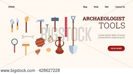 Web Banner With Set Tools For Working Of Archaeologists At Archeology Digs.