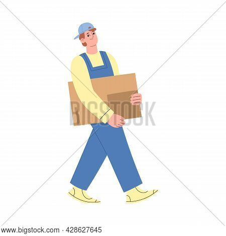 Worker Of Warehouse Or Delivery Service Carry Cardboard Box.