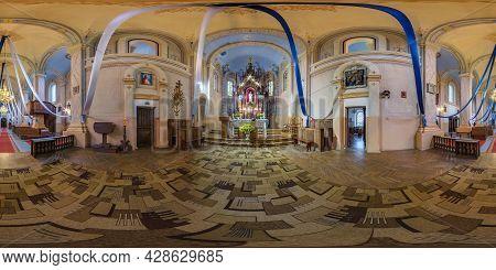 Nacha, Belarus - July 2021: Full Spherical Seamless Hdri Panorama 360 Degrees Inside Interior Of Neo