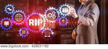 Rip. Businessman Pressing Virtual Screen Routing Information Protocol. Technology Networks Cocept