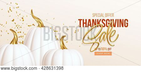 3d Realistic White Golden Pumpkin With Sale Text Isolated On White Background. Thanksgiving Backgrou