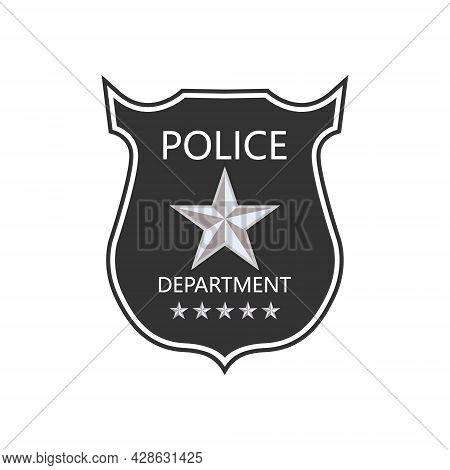 Police Department Badge. Shield Of Cop. Badge Of Officer Police. Emblem Of Sheriff. Symbol Of Securi