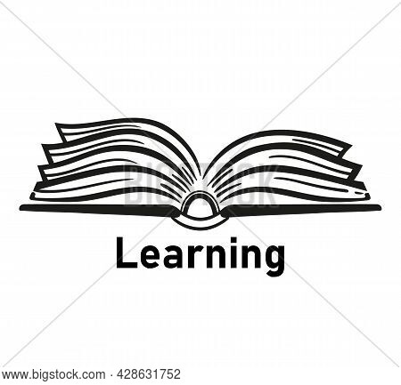 Read Open Book Icon. Learning And Reading Literature. Textbook Or Dictionary Black Silhouette. E-boo