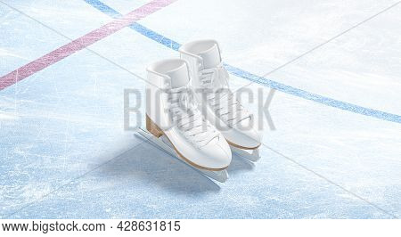 Blank Ice Rink Skates Surface With Background Mockup, Top View, 3d Rendering. Empty Winter-sports Ar