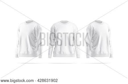 Blank White Women Sweatshirt Mockup, Front And Side View, 3d Rendering. Empty Long Crewneck Sweat-sh