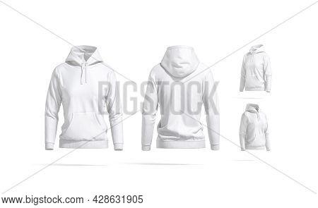 Blank White Women Sport Hoodie Mockup, Different Views, 3d Rendering. Empty Cotton Hooded Sweat-shir