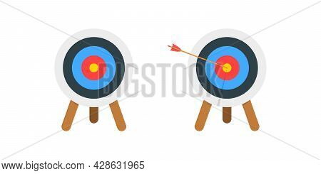 Archery Dartboard With And Without Arrow Hitting Goal Ring. Achieving Target Strategy Idea. Business