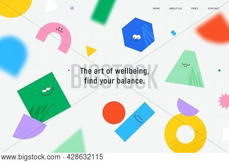 Vector Landing Page With Character Geometric Figures On White Background. Cute Cartoon Characters, C