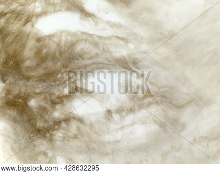 Abstract Painting, Pour Epoxy Resin. Beige, Gold And White Color. Soft, Fluffy, Warm Texture. Fluidi