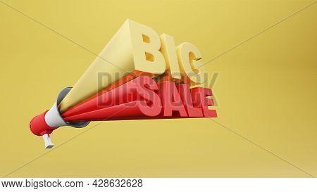 Megaphone 3d Rendering With Wording Big Sale 3d Rendering