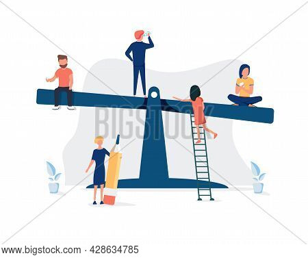 Vector Illustration Of Groups Of People On A Swing And Outweighs Them, The Concept Of Overweight, Co