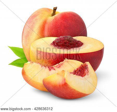 Fresh Peach Isolated. Organic Nectarine Or Peach Slice With Leaf On White Background.