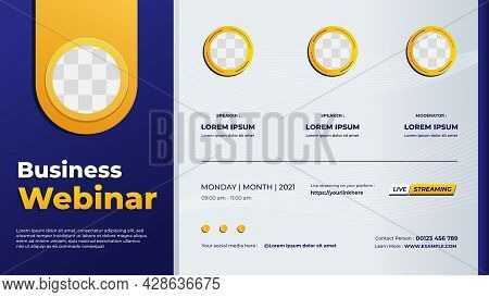 Business Webinar Banner Template For Website With Blue And White Gradient Geometric Background And F
