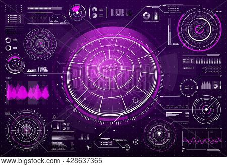 Hud Futuristic Technology Screen Digital Interface. Sci Fi User Interface, Future Dashboard Design W