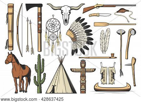 Native American Icons With Vector Tribal Indian Arrows, Feathers And Dream Catcher, Buffalo Skull An