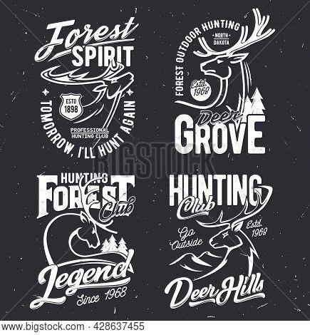 Tshirt Prints With Deers Vector Mascots For Hunting Club. Reindeer On Black Grunge Background. Hunt