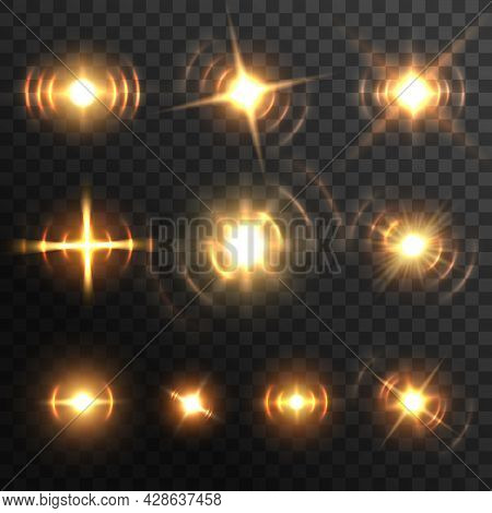Lens Light Flare, Fiery Energy Burst Or Headlights Realistic Effect. Vector Golden Glow Beam Flashes