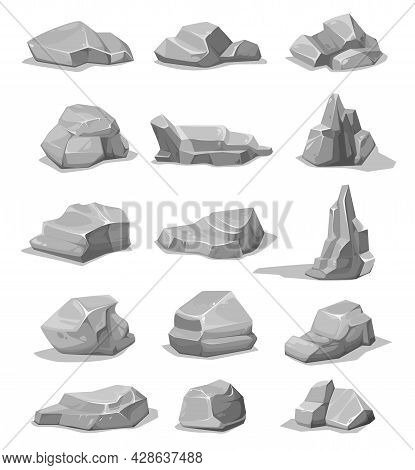 Cartoon Rock Stones And Boulders. Grey Rubble, Gravel Or Cobble Vector Set. Geological Materials, Ro
