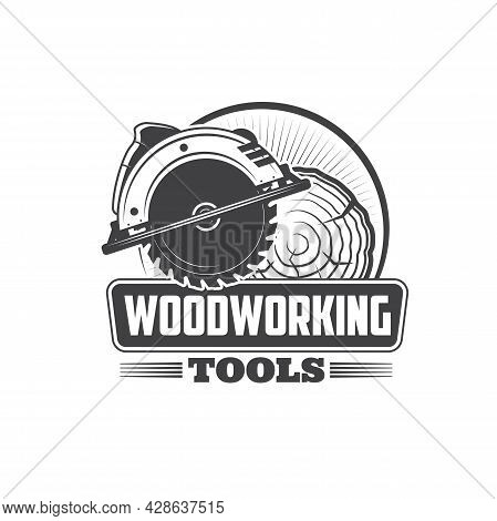 Woodworking Tools, Joiner And Carpenter Instruments, Vector Workshop Icon. Wood Carpentry Jigsaw And