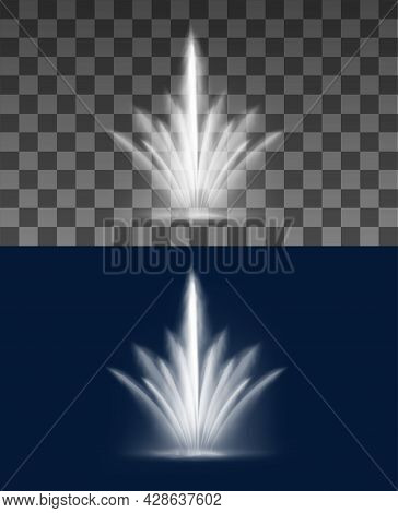 Fountain Cascade Of Water Jets And Splashes, Vector Stream Spray. Fountain Waterfall Or Geyser And A
