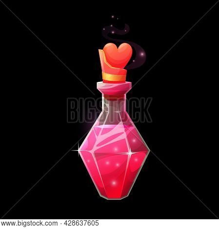 Love Potion Bottle, Vector Magic Elixir In Faceted Glass Flask With Heart Bung And Aroma Vapor With
