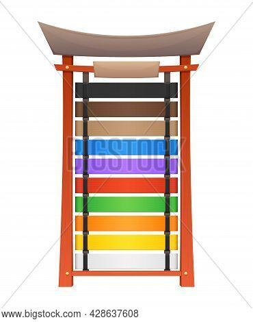 Karate Belts Display Stand Or Wooden Rack, Vector Martial Arts Ranks. Japanese Karate Belts Or Dan R