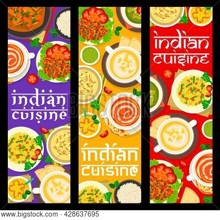 Indian Cuisine Meals Banners. Rice Pudding With Nuts, Mango Yogurt Drink Lassi And Prawn In Tomato S