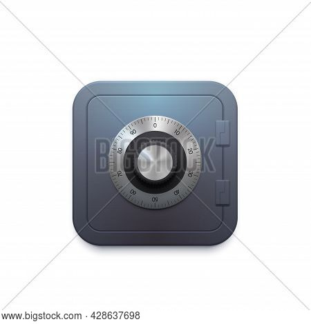 Steel Bank Vault Safe Icon With Lock Dial, Vector Money App. Bank Safe Box Or Vault With Password Se