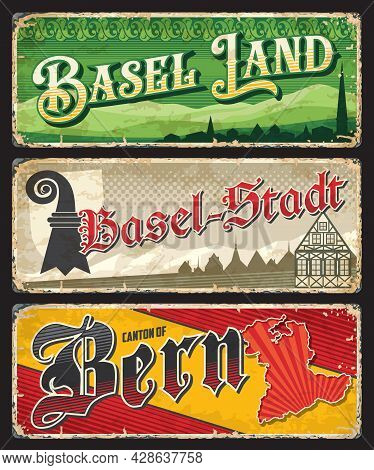 Basel Land, Basel-stadt And Bern Swiss Cantons Plates. Vector Vintage Banners With Switzerland Trave