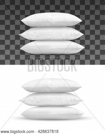 Pillow Stack, Realistic Vector Object Of White Cushions. Isolated Pile Of Rectangle Bed Pillows 3d M