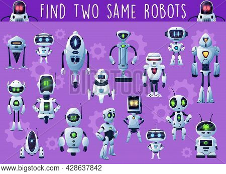 Kids Game With Robots And Droids. Child Playing Activity, Riddle Or Educational Puzzle With Find Sam