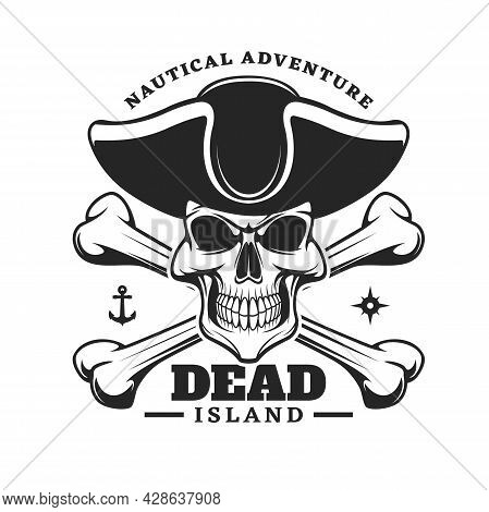 Pirate Captain Skull And Crossed Bones Icon. Vector Emblem With Jolly Roger In Cocked Hat. Filibuste