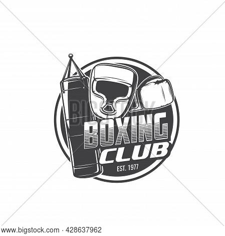 Boxing Sport Isolated Icon With Vector Boxer Gloves, Helmet And Punching Bag. Box Fighter Equipment
