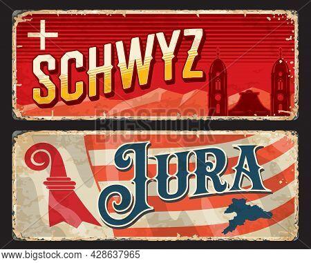 Schwyz And Jura Swiss Cantons Vintage Plates. Switzerland Regions Retro Vector Tin Sign. European Tr