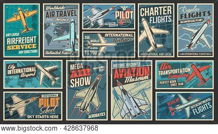 Aviation And Modern Air Transport Retro Posters Set. Airfreight Service, Pilot School And Air Travel