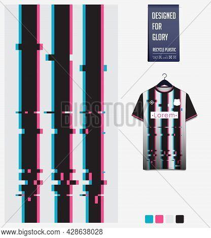 Soccer Jersey Pattern Design. Stripe Pattern On White Background For Soccer Kit, Football Kit, Bicyc