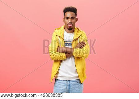 Not Gonna Talk With You Rude Guy. Displeased Offended Cute African American Male With Beard And Afro