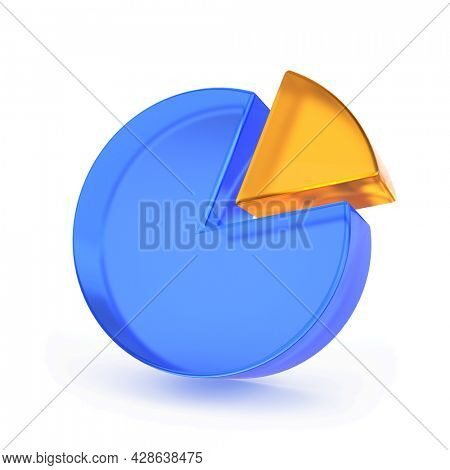 Pie chart isolated on white background - 3d rendering