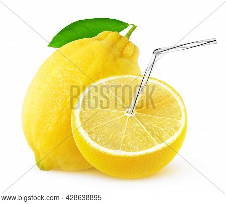 Isolated Lemon Juice. One And A Half Lemon Fruit With Straw In It, Natural Fresh Juice Concept Isola