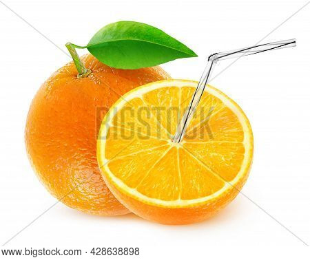 Isolated Orange Juice. One And A Half Fruit With Straw In It, Natural Fresh Juice Concept Isolated O