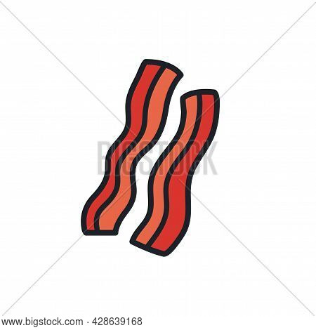 Bacon Strips Icon. Ham Icon. Vector Isolated Linear Color Icon Contour Shape Outline. Thin Line. Mod