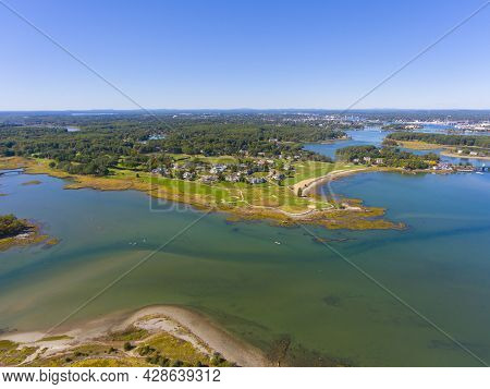 Sheafes Point And Golf Course Aerial View On Piscataqua River Near Portsmouth Harbor In Town Of Rye,