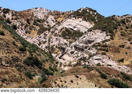 Arid Hills Covered With Sandstone And Grasslands Taken On The San Andreas Fault In The Cajon Pass, C
