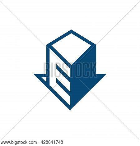 Initial E Letter Abstract Logo Vector Template Into Building Shape. E Vector E Icon