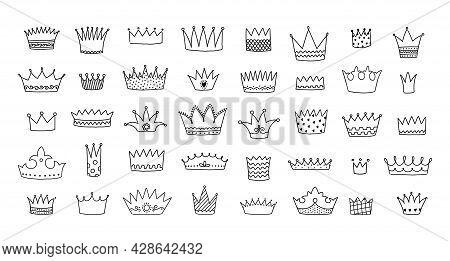 Doodle Crowns. Royal King And Queen Decorative Hand Drawn Symbols. Line Art Graffiti Elements Set. P