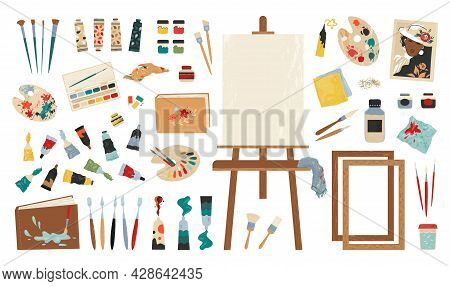 Artist Tools. Painting Workshop Clipart Collection. Paints And Brushes. Sharpener Or Eraser. Drawing
