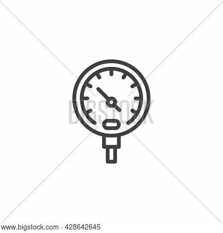 Temperature Gauge Line Icon. Linear Style Sign For Mobile Concept And Web Design. Gauge Meter Measur