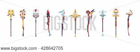 Wizard Stuff. Cartoon Magic Staves Of Natural Elements With Stones. Metal And Wooden Magical Weapon